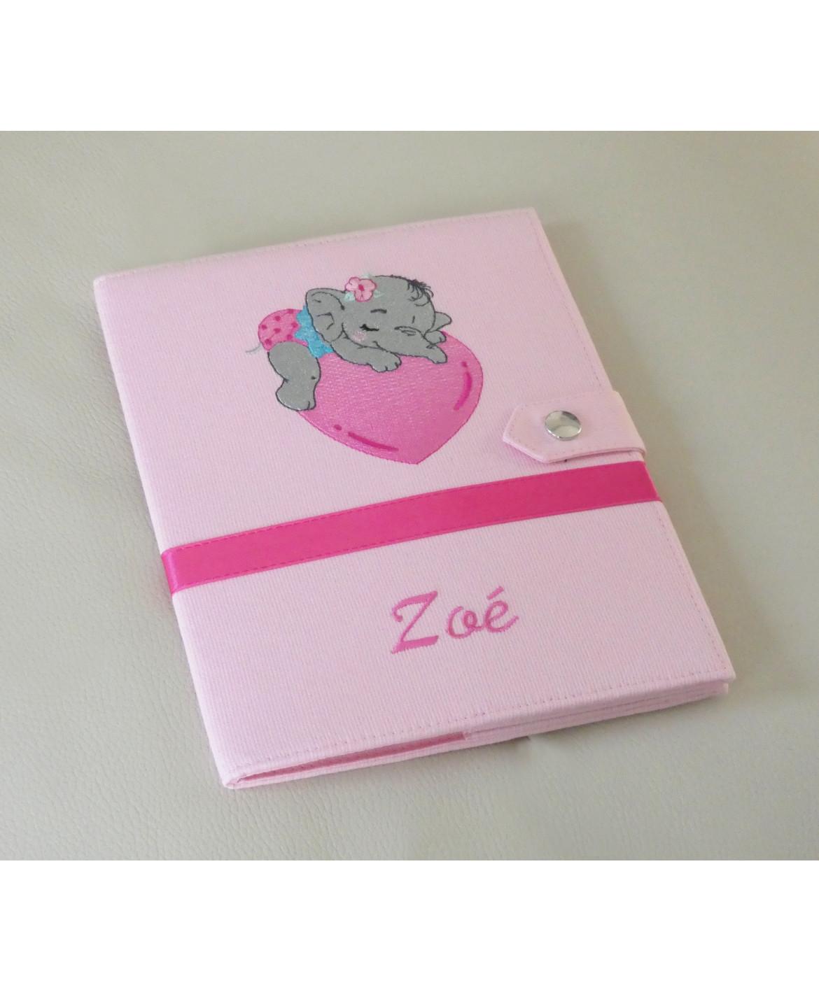 Protège carnet de santé rigide personnalisé - rose - bébé éléphant - Cadeau de naissance