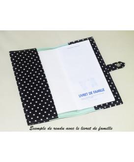 Protège livret de famille rigide - vert d'eau - étoiles blanches - personnalisé - Cadeau de naissance personnalisé