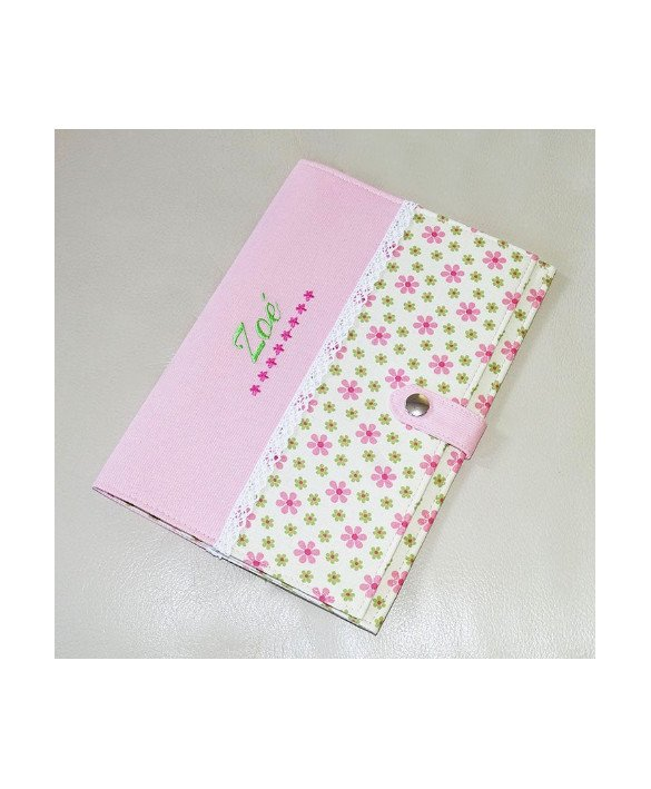 Pochette de rangement pour carnet de santé - fleurs roses