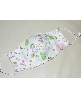 Masque en tissu pour enfant - Lavable et réutilisable - forêt magique