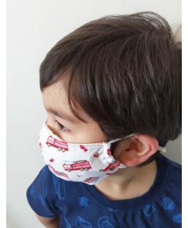 Masque en tissu pour enfant - lavable et réutilisable - camion de pompier