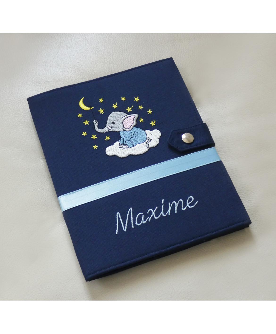 Protège carnet de santé rigide personnalisé - bleu marine - bébé éléphant - Cadeau de naissance garçon